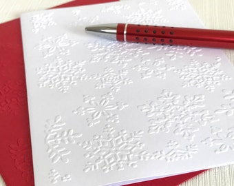 Snowflakes Christmas Cards Set (No.149) - Pack of 6 Snowflake Embossed Christmas Cards with Envelopes. White Christmas Cards, Winter Cards