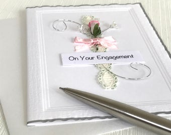 Engagement Card - Engaged Card - On Your Engagement - Getting Married Card - Handmade Card  - Rose Engagement Card - Pink Rose Card