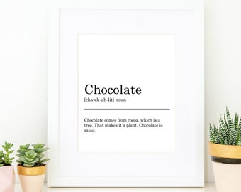 Chocolate Definition Print. Printable Art, Wall Decor, Black & White Typography, Monochrome, Minimalist, Funny Gift, Funny Art