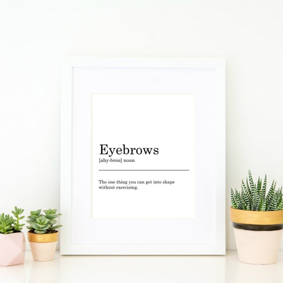 Eyebrows Definition Print Printable Art Wall Decor Black Etsy