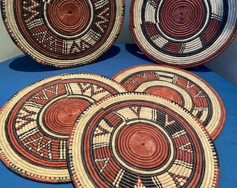 African wall basket/place mat made in Nigeria-Hausa tribe.wall basket