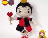 Pattern Amigurumi Queen of Hearts PDF TUTORIAL - Crochet PATTERN Queen of Hearts, Alice in Wonderland