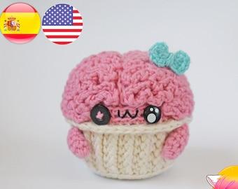 Brain Cupcake crochet pattern / Amigurumi brain PDF English pattern / Halloween toy pattern Galencaixe