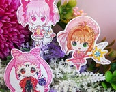 Stickers Black Lady, Madoka Magica, Sakura Card Captor, Vinyl Holographic Sticker, sticker holo
