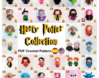 Crochet Pattern Harry Ron Hermione Dumbledore McGonagall Snape MadEye Lupin Tonks Fred Lovegood Myrtle, Collection 30 characters Galencaixe