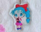 Acrylic keychain anime girl with blue hair, aesthetic, acrylic charm