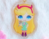 Acrylic keychain Star Butterfly, Magical Girl, Star vs forces of evil, with glitter, brillibrilli, aesthetic