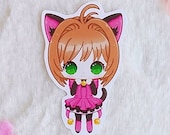 Sticker Waterproof Vinyl Sakura Card Captor, kitty dress Galen.Draws