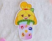 Sticker Waterproof Vinyl Boba Tea Isabelle, vinyl sticker kawaii, recipe, fossil, star shard, animal crossing Galen.draws