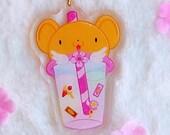 Acrylic keychain Boba Kerberos, Sakura Card Captor, Kero, with glitter, brillibrilli, pastel colours, aesthetic, acrylic charm