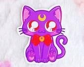 Sticker Waterproof Vinyl Luna, cat Sailor Moon, Kitty with bow, Moonie Galen.draws