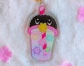 Acrylic keychain Boba tea Stars with glitter, brillibrilli, aesthetic, fluff, acrylic charm, Galen.Draws