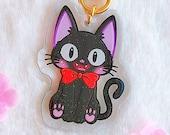 Acrylic keychain Black cat, kitty, Black kitten, Magical Girl, with glitter, brillibrilli, aesthetic