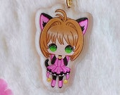 Acrylic keychain Card Captor Sakura, Sakura custom kitty, with glitter, brillibrilli, aesthetic, acrylic charm
