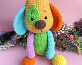Amigurumi Multicolored Dog, crochet doll, Amigurumi kawaii, articulated  plushie