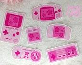 Sticker Waterproof Vinyl 90's Gamer Girl, kawaii, sakura, Retro Gaming, vinyl sticker kawaii, blossom