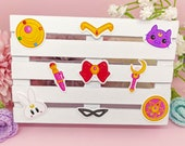 Pack Stickers Sailor moon, tiara, lockets, eye mask, pen, bunny, wand, moon cat, Waterproof Vinyl