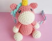 Amigurumi Unicorn pink, crochet doll, Amigurumi kawaii, plushie