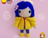 Pattern Amigurumi Coraline PDF TUTORIAL - Crochet PATTERN Coraline Jones, Doll