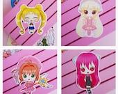 Stickers Sailor Moon, Nyu Elfen Lied, Chii Chobits, Sakura Card Captor, vinyl sticker, Moonies Galen.Draws