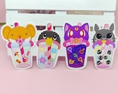 Stickers Boba Tea, Sailor Moon, Sakura Card Captor, Totoro, Susuwatari, Vinyl Sticker, Magical Girls, Bubble Tea