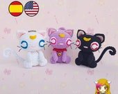 Pattern Cat Luna, Artemis, Diana - Amigurumi Cats PDF TUTORIAL - Crochet PATTERN Cat Sailor Moon