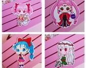 Stickers Sailor Moon, Madoka Magica, Black Lady, Elfa, pegatina de vinilo Moonie Galen.Draws