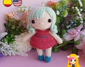 Pattern Amigurumi Basic doll PDF TUTORIAL - Crochet PATTERN doll chibi, Doll red dress