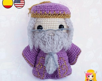 Amigurumi PATTERN crochet doll Albus Wizard Director crochet pattern- PDF TUTORIAL in English (us terms) and Spanish Galencaixe
