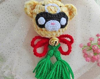 Keychain Xiangling Genshin Impact, Amigurumi kawaii, Bear with bell crochet, fan-made merchandise Galencaixe