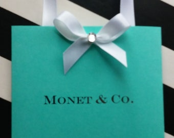 10 Tiffany Shopping Bag Invitations Birthday Sweet 16 Quinceañera Baby Bridal Shower
