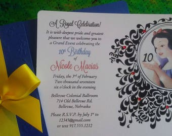 50 Beautiful Snow White Birthday Party Invitations Perfect for your Little Gilr or for a Sweet 16 Quinceañera