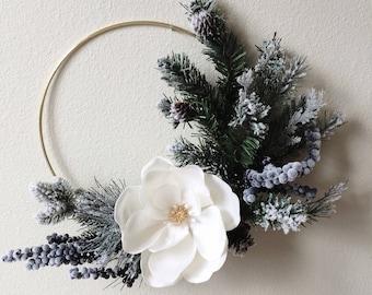 Modern Christmas Wreath, Minimalist Hoop Wreath, Holiday Wreath, Flocked Wreath, Minimal Holiday Decor, Magnolia Wreath, Front Door Wreath