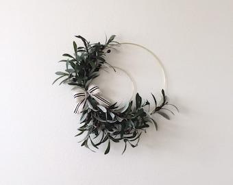 Thanksgiving Wreath, Autumn,Modern Wreath, Olive Branch Leaf Wreath, Minimalist Minimal Wreath,Hoop Wreath, Greenery Wreath,Modern Farmhouse