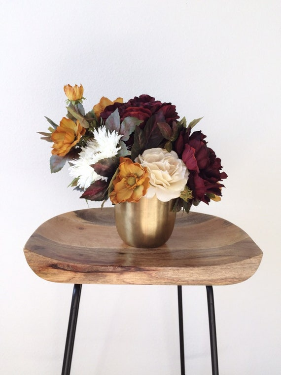 Modern Table Flower Arrangement Peony Side Table Floral Etsy
