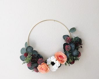 Modern Wreath, Summer Wreath, Eucalyptus Wreath, Greenery Wreath, Front Door Wreath, Hoop Wreath, Minimal Decor, Minimalist Wreath, Wreaths