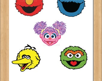 graphic about Sesame Street Printable Faces identified as Sesame highway cutout Etsy