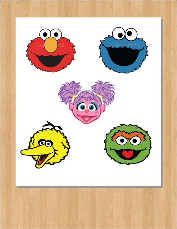 Sesame Street Birthday Party Characters Elmo Cookie Monster Abby Cadabby Big Bird Oscar Sesame Street Cutouts Clipart Illustration