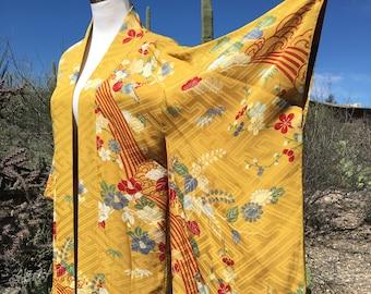 Vintage Japanese Silk Kimono, Robe or Coat, or Dressing Gown