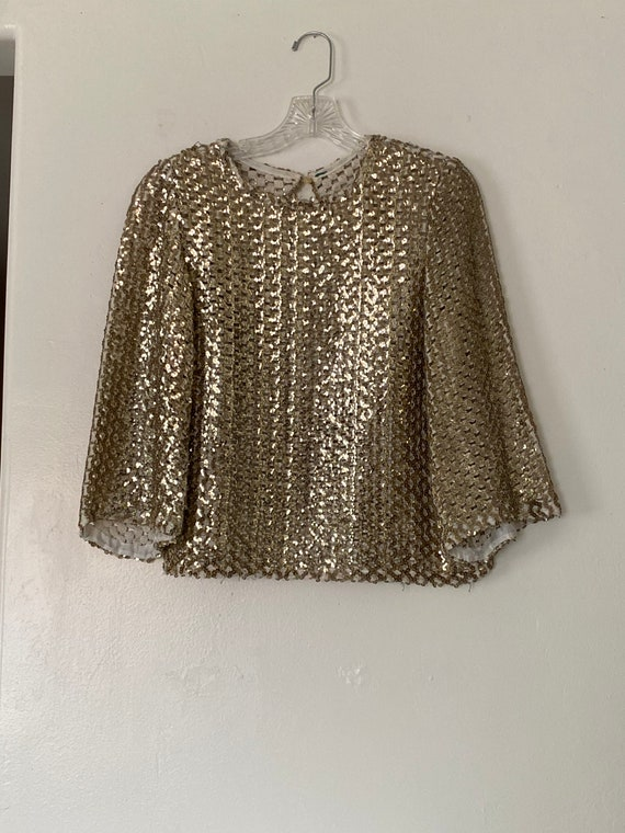 Vintage 30s/40s Gold Sequin Top Size XS