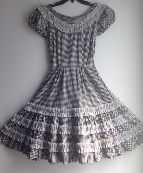 Vintage 50s Black and White Gingham Full Skirt Dre