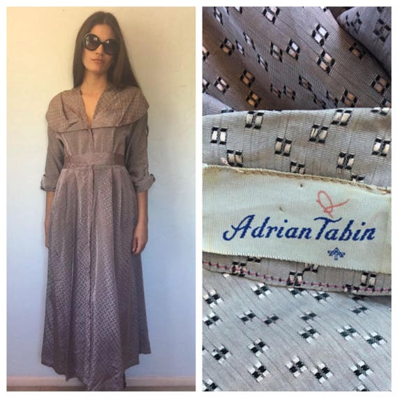 Vintage Silver Print Adrian Tabin Dress + Matching
