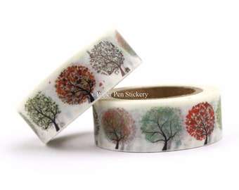 Washi Tape Weather Tree Leaves Autumn Winter Spring Summer Tree Planner Decoration Scrapbooking Stationery Planner Supply Decorative Sticker