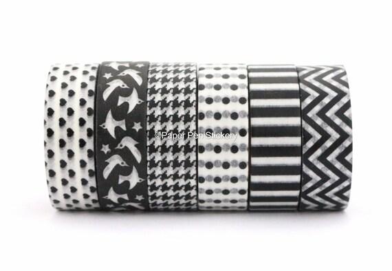 schwarze washi tape set von 6 planer dekoration streifen polka etsy. Black Bedroom Furniture Sets. Home Design Ideas