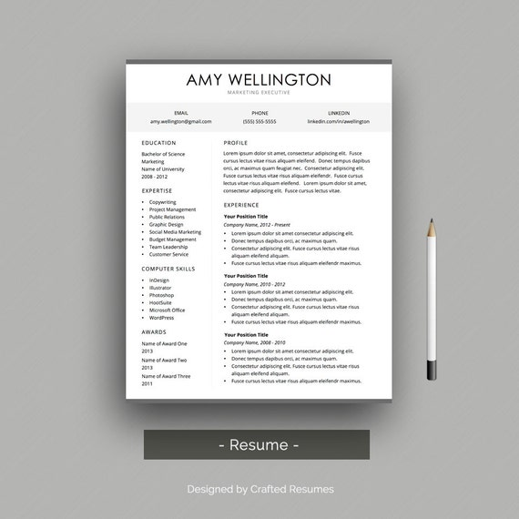 resume cover letter professional resume template for word etsy