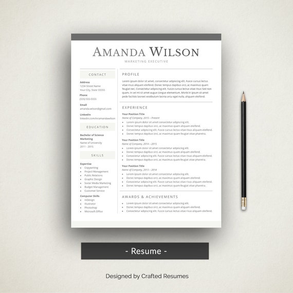 creative word resume cover letter simple resume template etsy