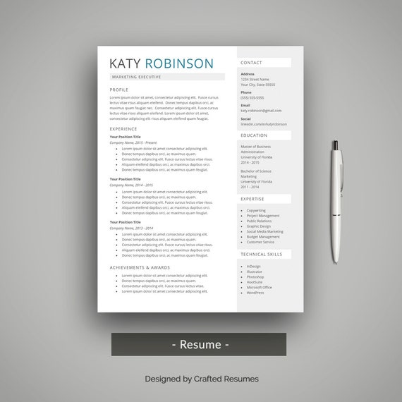 Creative Resume Template For Word With Cover Letter Printable Modern Resume Design Simple Resume With Clean Layout Mac Or Pc