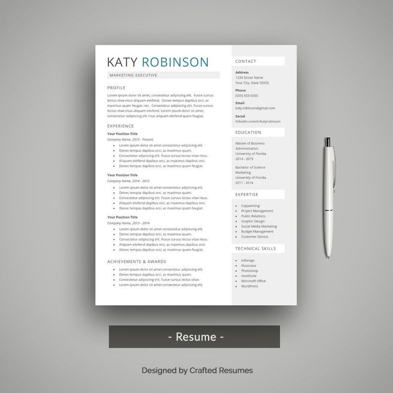 Creative Resume Template For Word With Cover Letter