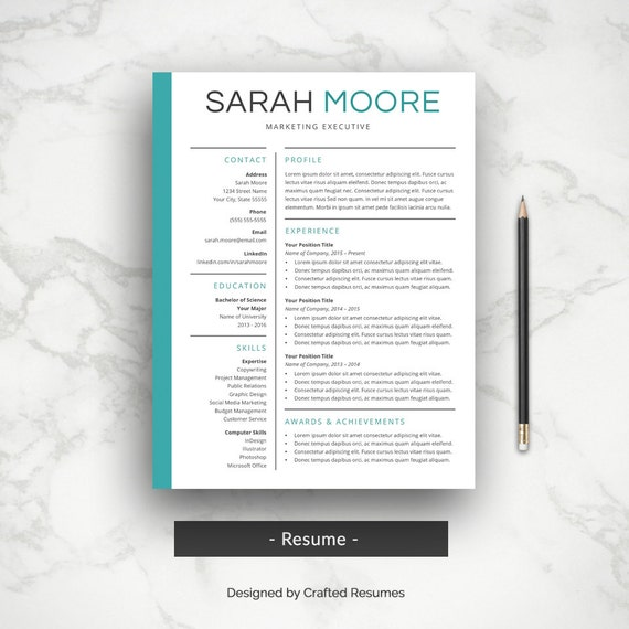 Professional Resume + Cover Letter | CV Template | Simple Resume Template |  Professional CV | Resume Templates for Word | Instant Download
