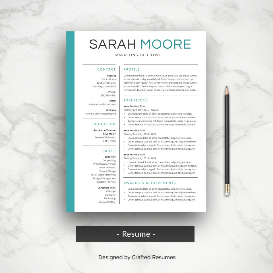 professional resume cover letter cv template simple